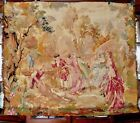 """19th Cen Aubusson French Woven Embroidered Tapestry Chateau Bourdeaux 4'2""""x3'5"""""""