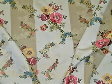 LEE JOFA KRAVET CHINOISERIE PAGODA FLORAL STRIPES BROCADE FABRIC 10.5 YARDS