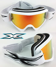 EKS BRAND GOX FLAT OUT MOTOCROSS GOGGLES WHITE  with RED INFERNO MIRROR LENS