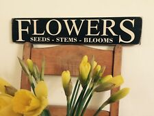 Flowers Sign Plaque Kitchen Vintage Old Look Flower Market Shop Mum Gift Wood