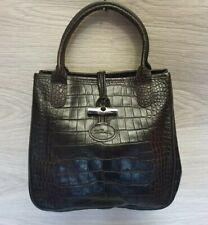 Longchamp Roseau Croco Embossed Purse Tote Small Evening Bag Leather Handbag