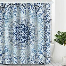 Blue White Mandala Boho Bohemian Floral Gorgeous Fabric Shower Curtain