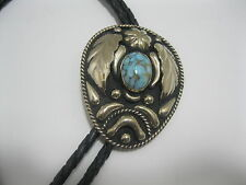 BOLO TIE #214 - German Silver & Turquoise Colored Stone
