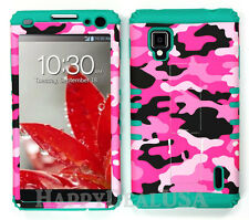 KoolKase Hybrid Silicone Cover Case for Sprint LG Optimus G LS970 Camo Hot Pink