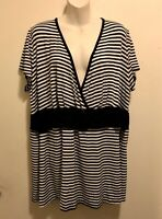 EUC VTG Torrid Retro Goth Black & White Striped Belted Criss Cross V-Neck Top 3x