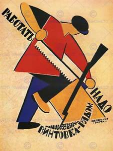 WAR PROPAGANDA RUSSIAN CIVIL WORKER SOLDIER RIFLE SOVIET UNION AD POSTER 2719PY