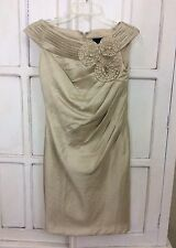 Womens Adrianna Papell Champagne Gold Metallic Sheath Dress sz 4 Cocktail Party