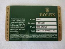 GENUINE Rolex DAYTONA 116520 Warranty Card Guarantee certificate 5941482197