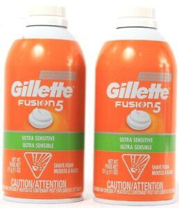 2 Count Gillette Fusion 5 Ultra Sensitive Cooling Ultra Comfort Shave Foam 11oz