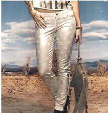 EUC Women's Size 0 / 23  Guess 7 Zip Gold Metallic Foil Star Skinny Shiny Jeans