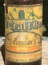 Michigan 30's Old Craft Brew IRTP Orig. Longneck Beer Bottle Menominee-Marinette
