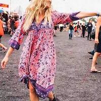 Women Boho Floral Long Maxi Dress Evening Party Beach Summer V-neck Sundress