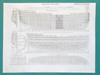 SHIP BUILDING Sterns Gunship Frames etc - (8) Eight 1825 Antique Prints