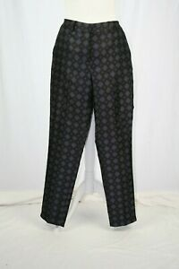 WAREHOUSE Black, Blue Patterned Cropped Length Trousers UK 8