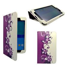 """para Samsung Galaxy Tab 3 8"""" morado y Crema Flor Diseño Piel Artificial Funda"""