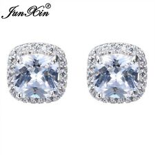 Luxury Princess Cut White Square Stud Earring 925 Silver For Women Wedding Gifts
