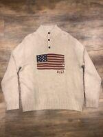 New Polo Ralph Lauren Men's Knit Sweater RL 67 USA Flag Size XXL Beige