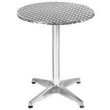 "Aluminum Stainless Steel Round Table 23 1/2"" Patio Bar Pub Restaurant Adjustable"