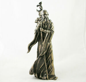 Wizard Merlin Figurine Arthurian Magic Sorcerer Statue Ornament Bronze Resin New