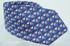 New Salvatore Ferragamo Men's Tie Elephant Monkey on Palm Blue Silk Multi