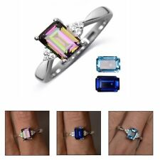 Women Engagement Wedding Jewelry Topaz Ring Colorful Stone