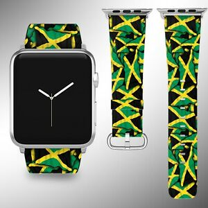 Jamaica Flag Apple Watch Band Series SE 6 5 4 3 Leather 40 44 38 40 mm FB