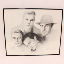 U2- Sketch by Gary Saderup of the band U2 Joshua Tree era dated 1988 - Rare
