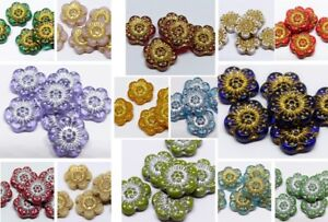 14MM CZECH PRESSED GLASS FLAT ROUND DISC FLOWER SPACER BEADS - 8PCS - 18 COLOURS