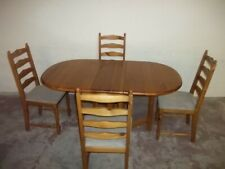 STRONG OVAL DROP LEAF SOLID PINE DINING TABLE AND 4 PINE CHAIRS Pos Delivery