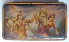 INDIA VINTAGE ADVERTISING LITHO PRINT TIN BOX HINDU GODS - LUV- KUSH