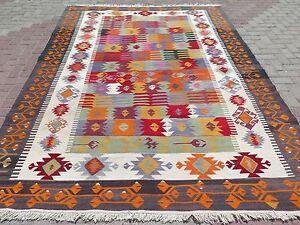 """Vintage Turkish Kilim Orange Colored Floor Wool Rug Handmade Rug Carpet 83""""x113"""""""