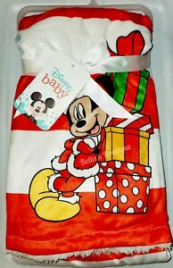 """ADORABLE DISNEY BABY MICKEY MOUSE CHRISTMAS SHERPA LINED BABY BLANKET. 30"""" x 40"""""""