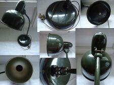 ANCIENNE LAMPE BUREAU ATELIER  ARTICULE AVEC 2  ROTULES EN METAL VERT