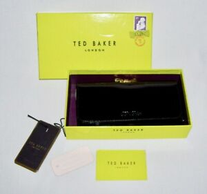 TED BAKER ~ Black Patent Leather MATINEE WALLET CLUTCH w/Crystal Bow Lock & Box