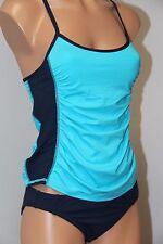 NWT Anne Cole Locker Swimsuit Bikini Tankini 2 pc set Sz S M Cross Back Navy MUL
