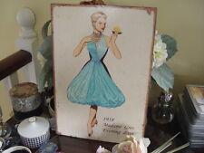DESIGNER FASHION TIN SIGN -1958 Madame Gres Evening Dress
