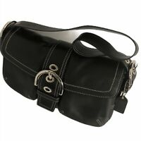 COACH Black Leather Flap Soho Purse Shoulder Bag Handbag 12x7x4