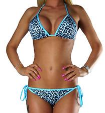 Sexy Damen Bikini Türkis Blau Leopard Leo Set Top +Hose Push Up Gr. XS
