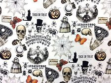 AH272 Seance Skulls Skeletons Goth Ghost Horror Creepy Cool Cotton Quilt Fabric