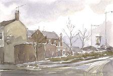 Barnsley Town ORIGINAL WATERCOLOUR PAINTING Steve Greaves Yorkshire Art Pub Bar