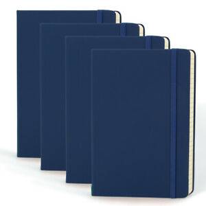 "4pk Simply Genius A5 Leatherette Journal Writing Notebook Lined 5.7"" x 8.4"""