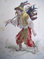 COSTUME DE PARIS gravure coloriée. Soldat aventurier pillard ( XVe siècle )