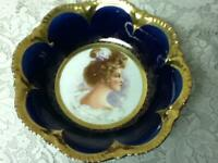 Antique, Rare, Empire China, Flow Blue Portrait, Large 10.5in x 2.5in Bowl