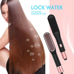 Electric Hair Straightener Brush Straightening Hot Comb with Anti-Scald Ceramic