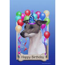 Italian Greyhound Blue & White Happy Birthday Flag