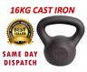 Men's Cast Iron 16KG Kettlebell Home Gym Heavy Duty Exercise Weight Equipment