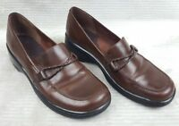 Clarks Women's Brown Leather Wedge Heel Loafers Sz 7.5 M Woven Leather Horsebit