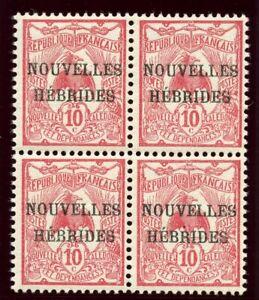 New Hebrides - French 1908 KEVII 10c carmine block superb MNH. SG F2. Sc 2.