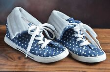 Childrens Place Girls Navy white polka dots silver High Top Canvas Shoes 5M (J)