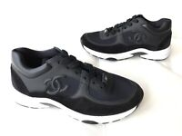 $950 CHANEL CC LOGO BLACK LEATHER SUEDE LACE UP TRAINERS SNEAKERS SHOES SIZE 36